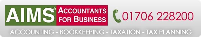 Advertising banner for Aims Accountants in Rossendale
